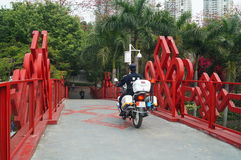 Shenzhen, China: pedestrian bridge Royalty Free Stock Image