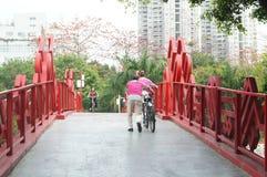 Shenzhen, China: pedestrian bridge Stock Photos