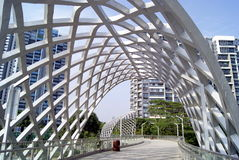 Shenzhen china: pedestrian overpass Royalty Free Stock Photo