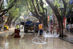 Shenzhen, China: pedestrian street cleaning Royalty Free Stock Images
