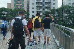 Shenzhen, China: pedestrian visitors Royalty Free Stock Photography
