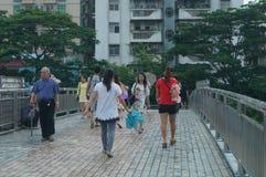 Shenzhen, China: pedestrian visitors Royalty Free Stock Photos