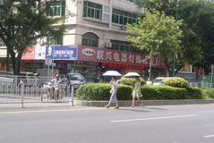 Shenzhen, China: of pedestrians crossing the road Stock Images