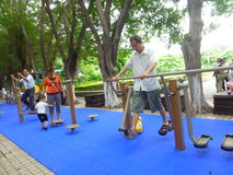 Shenzhen, China: people in the community park to exercise the body Royalty Free Stock Photos