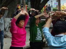 Shenzhen, China: people dance and exercise Royalty Free Stock Photos
