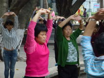 Shenzhen, China: people dance and exercise Royalty Free Stock Photo
