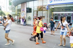 Shenzhen china: people in the leisure square landscape Stock Photos