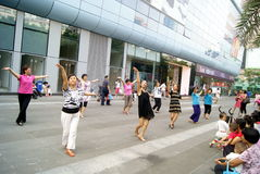 Shenzhen china: people in the leisure square landscape Stock Image