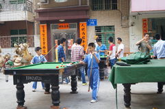 Shenzhen, China: people are playing billiards Royalty Free Stock Photos