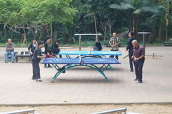 Shenzhen, China: People in playing table tennis Royalty Free Stock Images