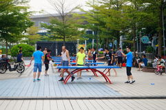 Shenzhen, China: people are playing table tennis Stock Photography