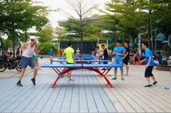 Shenzhen, China: people are playing table tennis Royalty Free Stock Image