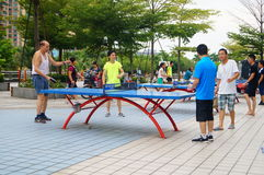 Shenzhen, China: people are playing table tennis Royalty Free Stock Images