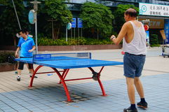 Shenzhen, China: people are playing table tennis Stock Images