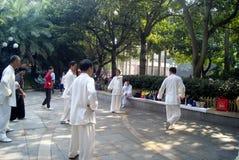 Shenzhen, china: people practicing tai chi Royalty Free Stock Image