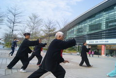 Shenzhen, China: people are practicing Taijiquan Stock Photos