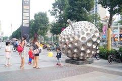 Shenzhen, China: people shopping square Stock Photography