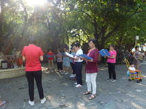 Shenzhen, China: people sing gospel songs in the park. Xixiang Shenzhen Park, in the morning, people sing the gospel of christ royalty free stock images