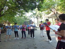 Shenzhen, China: people sing gospel songs in the park. Xixiang Shenzhen Park, in the morning, people sing the gospel of christ royalty free stock image