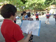 Shenzhen, China: people sing gospel songs in the park Stock Photo