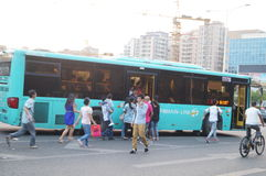Shenzhen, China: people waiting for the bus Stock Photography