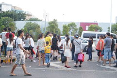Shenzhen, China: people waiting for the bus Stock Photo