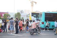 Shenzhen, China: people waiting for the bus Stock Images