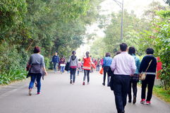 Shenzhen, China: people walk exercise Royalty Free Stock Images