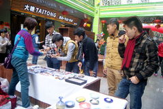 Shenzhen, China: pequeño mercado comercial Imágenes de archivo libres de regalías