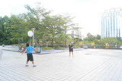 Shenzhen, China: playing badminton Royalty Free Stock Photography