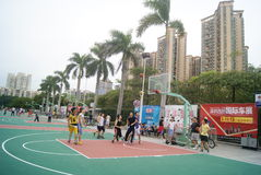 Shenzhen, China: playing basketball Stock Images