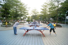 Shenzhen, China: playing table tennis Royalty Free Stock Photography