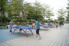 Shenzhen, China: playing table tennis Royalty Free Stock Image