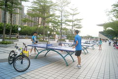 Shenzhen, China: playing table tennis Stock Images