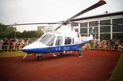 Shenzhen, China: police helicopter exhibition Royalty Free Stock Photography
