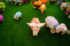 Shenzhen, China: Pop Art Painting sheep Exhibition Royalty Free Stock Photos