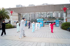 Shenzhen, China: in the practice of traditional Wushu -- Taijiquan Stock Photo