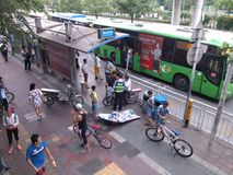 Shenzhen, China: the prohibition of illegal electric bicycle passenger Stock Images