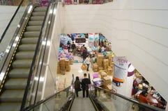 Shenzhen, China: Promociones del supermercado del EÓN Imágenes de archivo libres de regalías