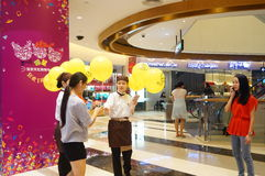 Shenzhen, China: promotional activities in shopping malls, giving away balloons Royalty Free Stock Images
