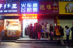Shenzhen, China: queuing to buy train tickets Stock Photo