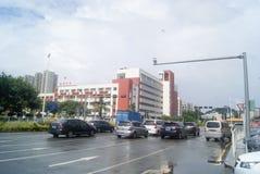 Shenzhen, China: rainy road traffic Royalty Free Stock Image