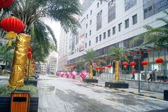 Shenzhen china: residential district hanging red lanterns Royalty Free Stock Photos