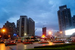 Shenzhen, China: road traffic and high-rise buildings Royalty Free Stock Photo