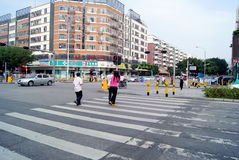 Shenzhen, china: road zebra crossing Royalty Free Stock Photography