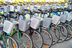 Shenzhen, china: a row of bicycles Royalty Free Stock Image
