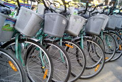 Shenzhen, china: a row of bicycles Royalty Free Stock Images