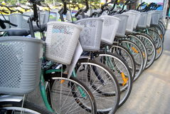 Shenzhen, china: a row of bicycles Stock Photos