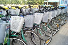 Shenzhen, china: a row of bicycles Royalty Free Stock Photos