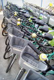 Shenzhen, china: a row of bicycles Royalty Free Stock Photo